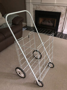 Utility cart, rolling, lightweight, coated wire frame, white
