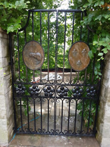 Custom Solid Wrought Iron Garden Gate with 2 Bronze Medallions