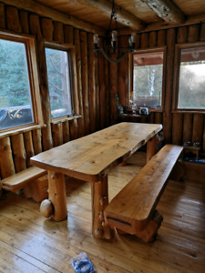 Log kitchen table with bench seating