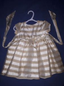 Toddler Gold Holiday Christmas Dress,Sweet Heart Rose,18mts EUC