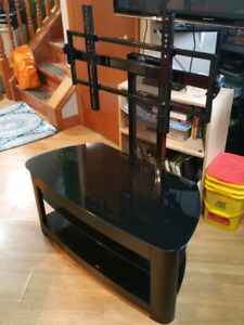 Glass and steel big screen TV stand
