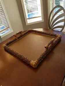 Wicker large ottoman tray