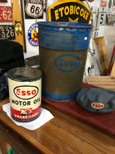 VINTAGE ESSO OIL CAP - 5 QUART CAN - 5 GALLON PAIL