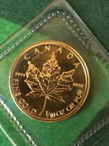 1998 Canada 1/10 oz Fine Gold Maple Leaf $5 Coin ~ BU in Seal