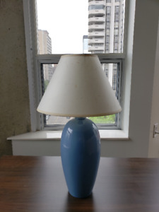 Lamp with Natural Paper Shade and Sky Blue Ceramic Base