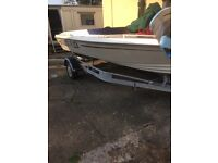 Speedboat and trailer
