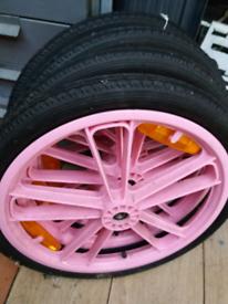 "4 x 18"" wheels, tyres and tubes. UNUSED"