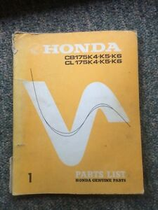 1972 Honda CB175 CL175 Parts List