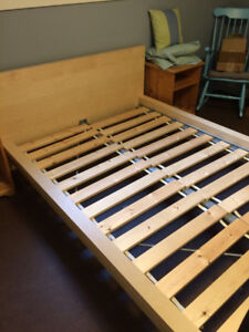 IKEA MALM birch double bed frame