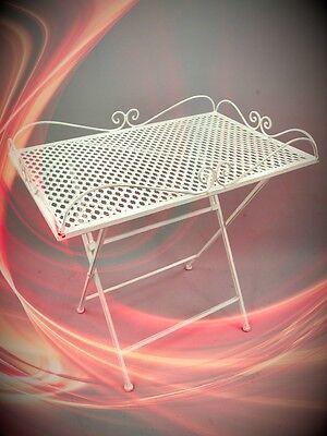Tisch eckig Eisen weiss L.60x40 Eisen Garten Balkon Terrassentisch vintag Antik
