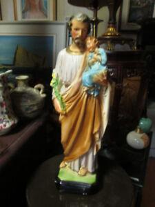 BELLE STATUE RELIGIEUSE EN PLATRE SAINT JOSEPH