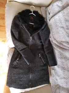 Yoki small coat jacket long with black fur and faux leather Belleville Belleville Area image 3