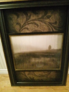 "Unique ""Misty Morning"" Art in polished wood frame"