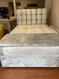 1. Brand new crushed velvet bed and orthopedic mattress