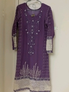 Beautiful embroidered chiffon dress. Party, eid evening wear