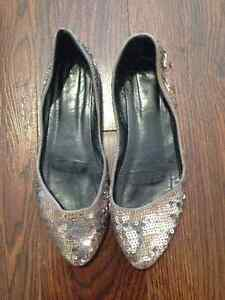 Gold Sequins Flats Size 9