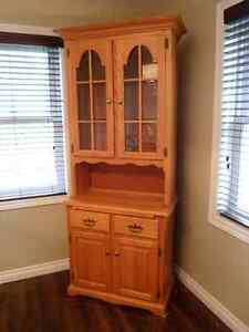 Handmade/Carved Solid Oak Hutch and Dining Table