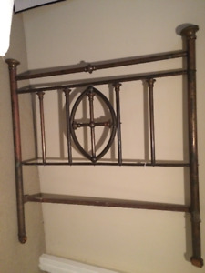 Enclosed Cross Motif  Brass bed. Over 100 years old