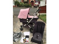 Excellent condition bugaboo cameleon with pale pink fabrics