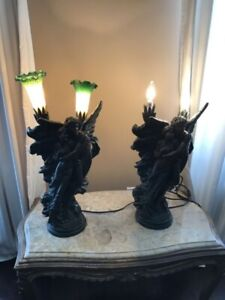 Set of antique angel lamps