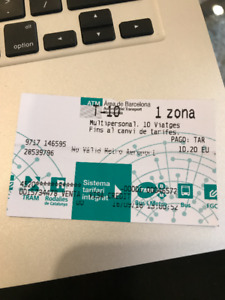 Barcelona, Spain -  TMB (Metro) T-10 ticket - free!