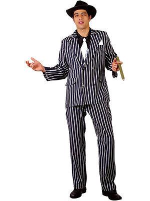 Men's Gangster Costume Adult Pinstripe 1920s Fancy Dress Mafia Mobster Godfather