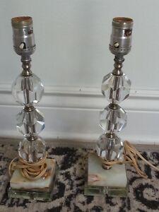 lampes vintage crystal et marbre