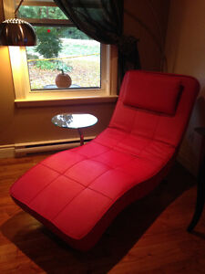 Leather lounge chair - Chaise longue en cuir