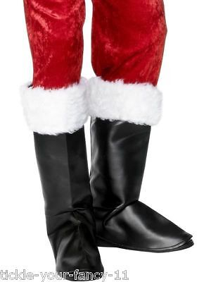 Men's Santa's Black Fancy Dress Boot Covers & Fur Father Christmas Stag Theme - Boot Themen Kostüm