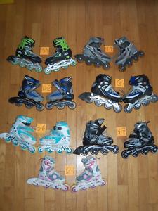 Divers patins a roues alignés roller blade ajustable enfant.