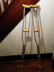 Aluminum crutches and wood cane