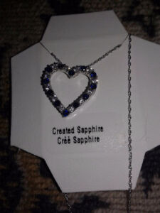 Sterling Silver Sapphire Necklace, Blue