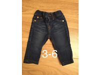 Baby girl 3-6 jeans never worn