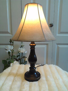 Like New! Bronze `Leather`Table Lamp, H 18 inch