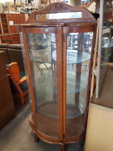 Luxurious Lighted Locking Wood Display Cabinet