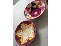 2 large Artisan woven baskets