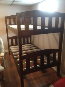 Dark Cappuccino Solid Wood Bunk Bed Frame