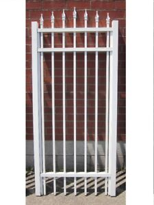 "ALUMINUM GATE 32-⅛"" wide, 6 ft high WHITE –SAVE 60%"