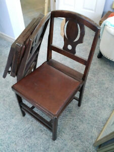 2 Antique Wooden Folding Chairs