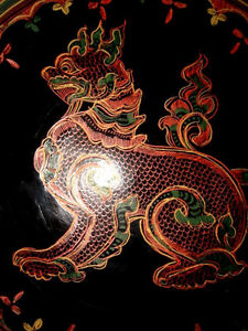 fine BURMESE LACQUER antique WOOD Plate FOO LION gorgeous PanYun Cambridge Kitchener Area image 5