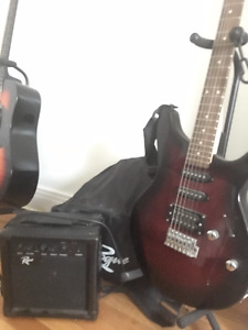 Electric guitar + travel bag + amplifier