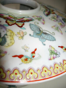 ASIAN porcelain BUTTERFLY CANDLE JAR cloisonné STUNNING large Cambridge Kitchener Area image 5