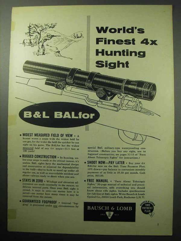 1957 Bausch & Lomb BALFor Scope Ad - World