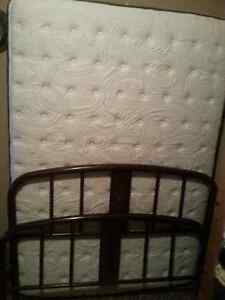 Double box spring and mattress with antique bed frame