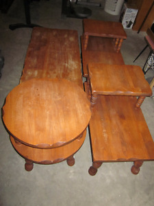 Solid Wood coffee table with matching end tables and side table