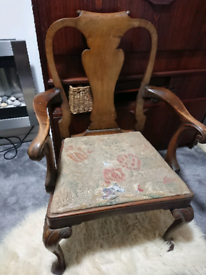 Vintage, antique walnut wood carver chair original tapestry seat