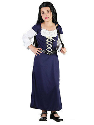 Maid Marian Marion Tudor Girl Fancy Dress Up 3-13Yrs Medieval Wench Costume - Maid Marian Costume Child