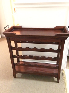 Wood Wine Rack with serving tray
