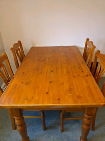 Solid Pine Farmhouse Style Dining Table or Desk with Four Chairs