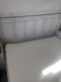 Double metal frame bed with memory foam mattress